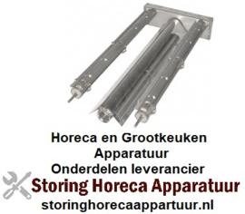 274104156 - Brander lavasteen grill staafbrander 2-rijen - L 435mm - B 205mm - H 50mm lavasteengrill RVS