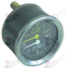 541223 - Manometer dubbele schaal ø 60mm drukbereik 0-2,5 - 0-16bar aansluiting achterzijde