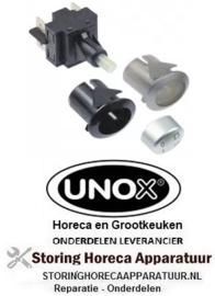 163348186 - Drukschakelaar inbouwmaat 20,6x16,4mm ovaal zilver 2NO 250V 16A 0-1 aansluiting vlaksteker 6,3mm UNOX