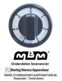 381110769 -  Knop schakelaar 7-standen ø 76mm as ø 6x4,6mm afvlakking boven zwart MBM