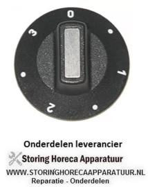 151110234 - Knop schakelaar 7-standen ø 50mm as ø 6x4,6mm afvlakking boven zwart