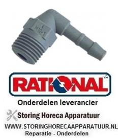 93240361102 - Slangaansluiting kunststof haaks draad M10x1 slang ø 6mm  aansluiting M10x1 RATIONAL