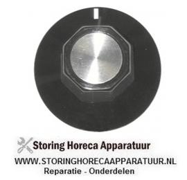 204110126 - Knop nulstreep ø 50mm as ø 6x4,6mm afvlakking boven zwart