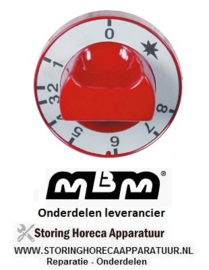 661110766 - Knop gasthermostaat 1-8 ø 65mm as ø 8x6,5mm afvlakking onder rood MBM