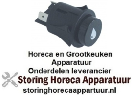 110346044 - Drukschakelaar tastend inbouw ø 25mm zwart 2NO, 250V, 16A water