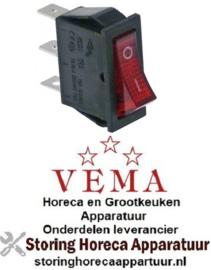 363301010 - Wipschakelaar rood 1NO/signaallamp 250V 16A VEMA
