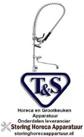 377594030 - T&S Voorspoeldouche met eenhendel eengatsmengkraan  hendelgreep totale hoogte 994 mm met zwenkkraan T&S