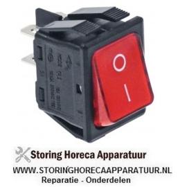 193301001 - Wipschakelaar 2inbouwmaat 30x22mm rood 2NO 250V 16A verlicht 0-I aansluiting vlaksteker 6,3mm
