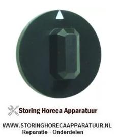 213110366 - Knop schakelaar nulstreep ø 44mm as ø 6x4,6mm afvlakking boven zwart