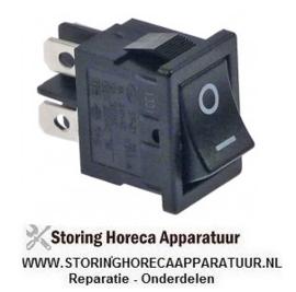 172301066 - Wipschakelaar inbouwmaat 19x13mm zwart 2NO 250V 6A 0-I aansluiting vlaksteker 4,8mm