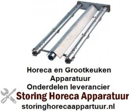 161104582 - Brander staafbrander 2-rijen - L 580mm - B 225mm - H 45mm lavasteengrill