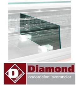 SPCR-66 -  Scheiding tussenwand toonbank in glas (L.660 mm) DIAMOND MELODY
