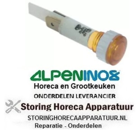 233359379 - Signaallamp ø 10mm 230V geel aansluiting vlaksteker 6,3 mm ALPENINOX