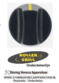 934112778 - Knop nulstreep ø 40mm as ø 6x4,6mm afvlakking onder zwart Roller-grill