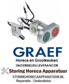 123348196 - Drukschakelaar tastend inbouwmaat ø22mm rond rood/groen 1NO/1NC/signaallamp verlicht voor snijmachine GRAEF