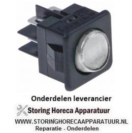 234347115 - Wipschakelaar inbouwmaat 27,8x25mm transparant 2CO 250V 16A verlicht aansluiting vlaksteker 6,3mm