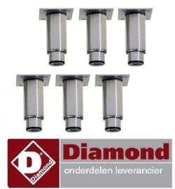 466PRX6-HE - Set van 6 regelbare poten in RVS voor kasten DIAMOND