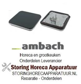 153490065 - Kookplaat maat 220x220mm 2000W 230V met oversteekrand aansluiting 4 schroefklemmen AMBACH