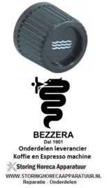 2121.111.18 - Knop water ø 32mm as ø 6 x 6 mm afvlakking vierkant zwart BEZZERA