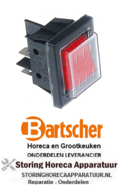 869301005 - Wipschakelaar inbouw rood 250V 16A BARTSCHER
