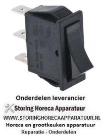 151301013 - Wipschakelaar inbouwmaat 30x11mm zwart 1CO 250V 16A aansluiting vlaksteker 6,3mm