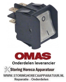 960348115 - Wipschakelaar inbouwmaat 28x22mm wit 2NO 250V 16A verlicht 0-1 aansluiting vlaksteker 6,3mm OMAS