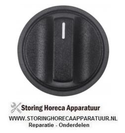 019111421 - Knop nulstreep ø 48mm as ø 6x4,6mm afvlakking boven zwart