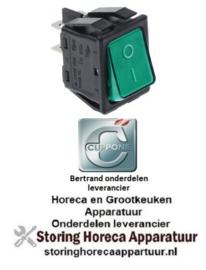 995301003 - Wipschakelaar groen 2NO 250V 16A verlicht 0-I voor CUPONE