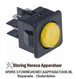 234345281 - Wipschakelaar inbouwmaat 27,8x25mm geel 2CO 250V 16A verlicht aansluiting vlaksteker 6,3mm