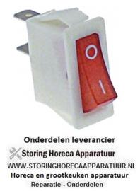 484347804 -  Wipschakelaar inbouwmaat 28x10mm rood 1NO 250V 15A 0-I aansluiting vlaksteker 6,3mm
