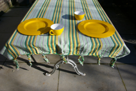 Tuintafelkleed  groen-geel met franje