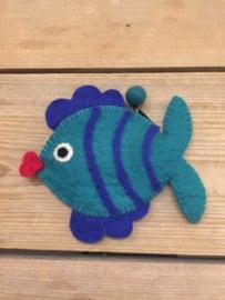 Portemonneetje vis blauw