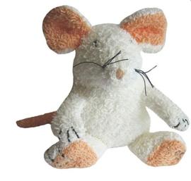 Badstof muis met piep wit