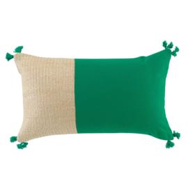 Kussen groen-naturel