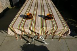 Tuintafelkleed  bruin-groen met  franje
