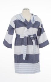 Kinderbadjas marineblauw-zachtblauw
