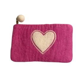 Portemonnee/etui vilt roze met wit hart