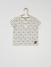 T-shirt met knoopjes voorzijde wit met fietsen