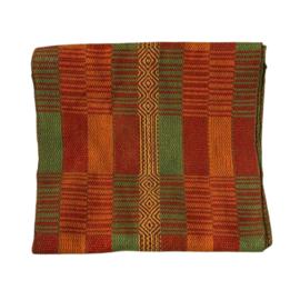 Handgeweven colsjaal oranje-groen