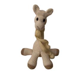 Alpaca gehaakt met sjaal lichtgeel