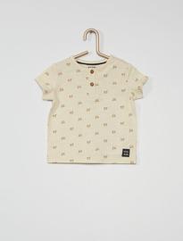 T-shirt met knoopjes voorzijde grijs met krabjes