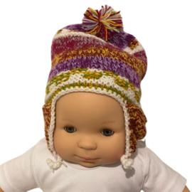 Baby mutsje traditioneel paars-terra-oker