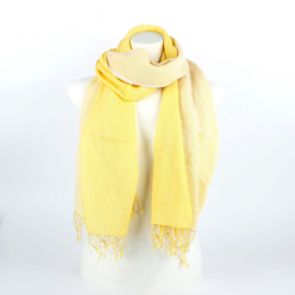 Dubbele katoenen sjaal lichtgeel-wit