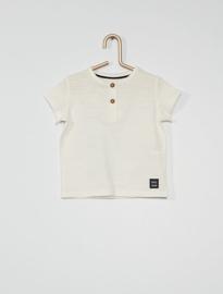 T-shirt met knoopjes voorzijde sneeuwwit