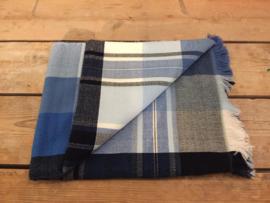 Katoenen picknick-/tafelkleed blauw-wit-grijs