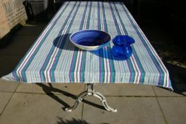 Tuintafelkleed  blauw-paars met franje