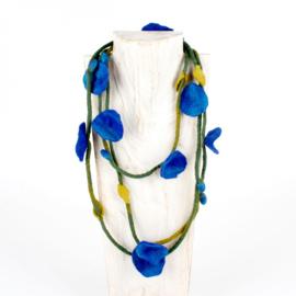 Vilten bloemenketting kobaltblauw