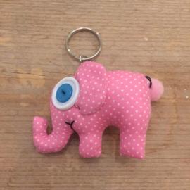 Sleutelhanger olifant roze katoen
