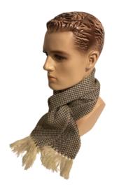 Alpacawollen sjaal donkerbruin-wit