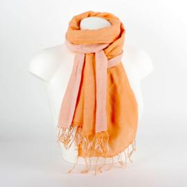 Dubbel katoenen sjaal zalm
